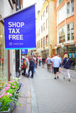 Tax Free Shop sign. Stockholm, Sweden - July 25, 2017: Shop Tax Free sign on main shopping street of Gamla Stan in Stockholm Stock Photos