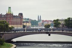 Stockholm, Sweden - July 2014: Vasabron Bridge linking Norrmalm and old district of Stockholm in Gamla Stan.  Royalty Free Stock Photo