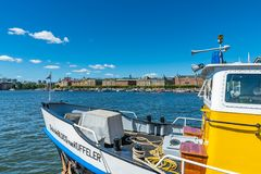 A view of Östermalm district in the background stock photography