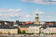 STOCKHOLM, SWEDEN - JULY 14, 2017: View over Gamla Stan Old Town with German Church in Stockholm, Sweden Royalty Free Stock Photos
