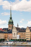 STOCKHOLM, SWEDEN - JULY 14, 2017: View over Gamla Stan Old Town with German Church in Stockholm, Sweden Stock Image