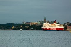STOCKHOLM, SWEDEN-JUNE 23: The ferry Viking Line is moored at the mooring in the city of Stockholm. STOCKHOLM, SWEDEN -JUNE 23: The ferry Viking Line is moored royalty free stock photos