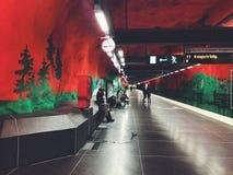 Solna Centrum tunnelbanestation Underground. Station of the Subway Stockholm, Sweden. STOCKHOLM, SWEDEN - JUNE 10, 2017: Solna Centrum tunnelbanestation stock photography