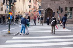 Urban life. People Walking In A Big City Royalty Free Stock Image