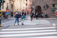 Urban life. People Walking In A Big City Stock Photo
