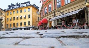 stockholm sweden Kafé i mitten av staden Arkivfoton