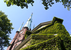 Stockholm, Sweden. Look up at the church tower of Saint Clare in Sweden, Stockholm Stock Photos