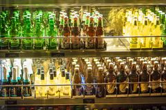 Stockholm, Sweden - March, 2019. Beverage display on cold freezer at local store in Arlanda airport, Stockholm, Sweden. Variety of. Stockholm, Sweden - March stock image