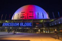 STOCKHOLM, SWEDEN - March 5: Ericsson globe in Stockholm, Sweden. stock photo