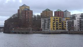 Gloomy March day in modern Stockholm. Sweden stock video footage