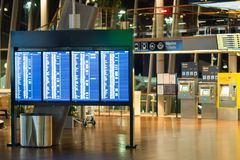 Stockholm, Sweden - March, 2019. Interior of Arlanda airport in Stockholm and Screens with schedule. Stockholm, Sweden - March, 2019. Interior of Arlanda airport royalty free stock photography