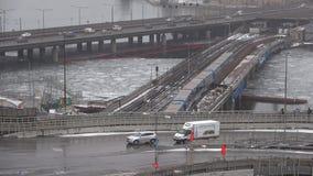 The metro-bridge Gamla Stan Tunnelbanabron and traffic interchange, Stockholm stock video footage