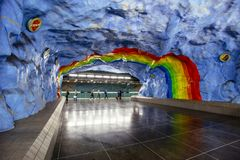 STOCKHOLM, SWEDEN - March 5, 2017: Underground metro Stadion station with rainbow design painting in Stockholm, Sweden dedicated t. O olympic games in Sweden Stock Photography