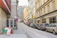 STOCKHOLM, SWEDEN - MARCH 21, 2013 - View of Herkulesgatan street in spring. One of the central streets of Stockholm. royalty free stock image