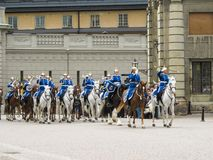 Stockholm/Sweden - May 16 2011: Changing of the guard Ceremony with the participation of the Royal Guard cavalry and orchestra royalty free stock images