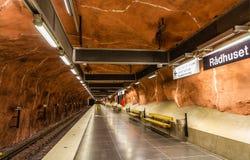 STOCKHOLM, SWEDEN - MAY 30: Interior of Radhuset metro station o Royalty Free Stock Photo