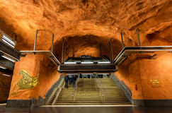 STOCKHOLM, SWEDEN - MAY 30: Interior of Rinkeby metro station on Stock Image