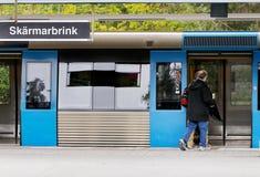 Stop at metro station stock photos