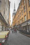 STOCKHOLM, SWEDEN - MAY 21, 2016: Narrow Street in Old Town (Gam Royalty Free Stock Images