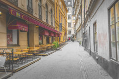 STOCKHOLM, SWEDEN - MAY 21, 2016: Narrow Street in Old Town (Gam Royalty Free Stock Photos