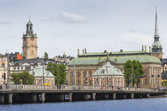 STOCKHOLM - SWEDEN - 21 MAY, 2016.Scenic panorama of the Old Tow Royalty Free Stock Photo
