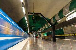 STOCKHOLM, SWEDEN - MAY 30: Train leaving Huvudsta metro station Stock Photo
