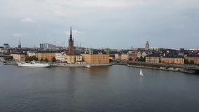 Stockholm Skyline Vid 3.mp4. Stockholm Sweden mid day footage of the city centre skyline with boats, bridges, waterways and traffic stock video footage
