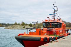 Stockholm, Sweden - November 3, 2018: Coastal safety, salvage and rescue boat. stock photo