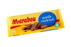 Marabou mjolkchoklad chocolate bar on white. Stockholm, Sweden - November 17, 2017: Marabou milk chocolate bar for the Swedish market. Marabou is a Swedish Royalty Free Stock Image
