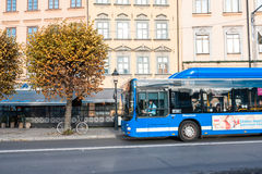 STOCKHOLM, SWEDEN - OCTOBER 26: The Passenger Bus Goes Down The Street The Cities, SWEDEN - OCTOBER 26 2016. Royalty Free Stock Image