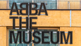 Stockholm, Sweden - October 28, 2016: ABBA the Museum sign at entrance Royalty Free Stock Photos