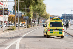 STOCKHOLM, SWEDEN - OCTOBER 26:the ambulance car hurries to the patient around the city,SWEDEN - OCTOBER 26 2016. Royalty Free Stock Image