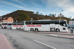 STOCKHOLM, SWEDEN - OCTOBER 26:the bus of the VIKING LINE company expects passengers at the terminal, SWEDEN - OCTOBER 26 2016. The ferry company VIKING LINE stock images