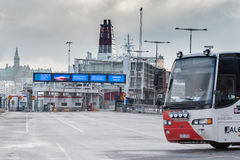 STOCKHOLM, SWEDEN - OCTOBER 26:the passenger bus expects people on landing at the ferry VIKING LINE terminal,SWEDEN - OCTOBER 26 2. 016.In Sweden bus traffic is royalty free stock photo