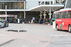 STOCKHOLM, SWEDEN - OCTOBER 26:the passenger bus expects people on landing at the ferry VIKING LINE terminal,SWEDEN - OCTOBER 26 2. 016.In Sweden bus traffic is stock photography