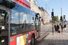 STOCKHOLM, SWEDEN - OCTOBER 26: the passenger bus goes down the street the cities, SWEDEN - OCTOBER 26 2016. Royalty Free Stock Photo