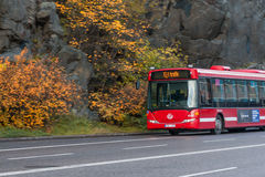 STOCKHOLM, SWEDEN - OCTOBER 26: the passenger bus goes down the street the cities, SWEDEN - OCTOBER 26 2016. STOCKHOLM, SWEDEN - OCTOBER 26:the passenger bus Stock Photo