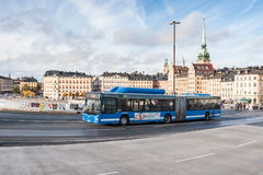STOCKHOLM, SWEDEN - OCTOBER 26: the passenger bus goes down the street the cities, SWEDEN - OCTOBER 26 2016. Royalty Free Stock Photos