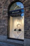 Prada store front. Italian luxury fashion house. royalty free stock photography