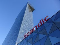 The Scandic Victoria Tower, skyscraper hotel in the Kista district of Stockholm, Sweden. stock images