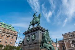 Statue of King Gustav II Adolf. Stockholm, Sweden- October 5, 2017: Statue of King Gustav II Adolf. At Gustav Adolf's Square.  The statue was ordered 1757 but Royalty Free Stock Photos