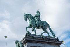 Statue of King Gustav II Adolf. Stockholm, Sweden- October 5, 2017: Statue of King Gustav II Adolf. At Gustav Adolf's Square.  The statue was ordered 1757 but Royalty Free Stock Image