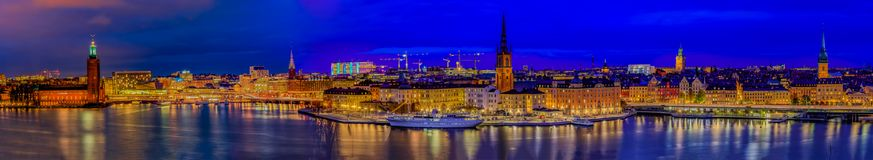 Panoramic sunset view onto Stockholm old town Gamla Stan and Rid royalty free stock photo