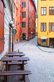 Stockholm. Sweden. Open air cafe in Gamla Stan Royalty Free Stock Images