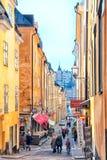 Stockholm. Sweden. People on Tyska Brinken Street Stock Images