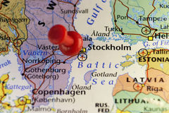 Stockholm Sweden pinned map Stock Image