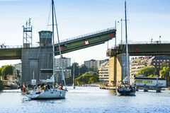 Stockholm, Sweden: Sailingboats waiting for bridge opening Royalty Free Stock Photography