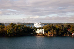 STOCKHOLM SWEDEN-SEPTEMBER 28: Silja Line och Viking Line ferrie Royaltyfri Fotografi