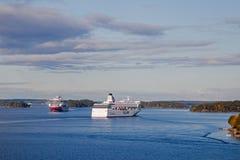 STOCKHOLM SWEDEN-SEPTEMBER 28: Silja Line och Viking Line ferrie Arkivbilder