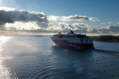 STOCKHOLM,SWEDEN-SEPTEMBER 28: Viking Line ferry float on fjords Stock Images